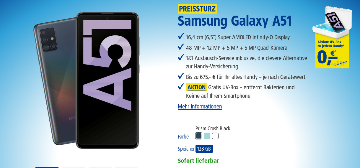 1&1 Smartphone Tarife: Gratis Galaxy A51 mit 3 GB LTE All-In-Flat bei 50 Mbit/s ab 9,99 Euro