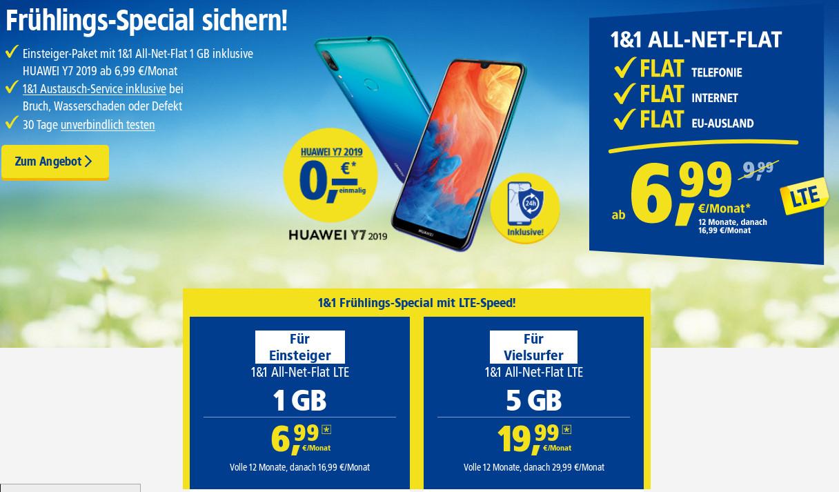20&20 Frühlings Aktion Gratis Huawei Y20 mit 20GB All In Flat ab mtl.