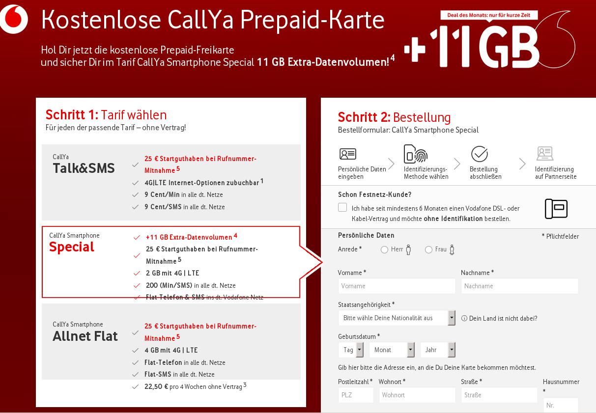 Callya Karte.Vodafone Prepaid Aktionsverlängerung Gratis 11 Gb Lte Daten Flat