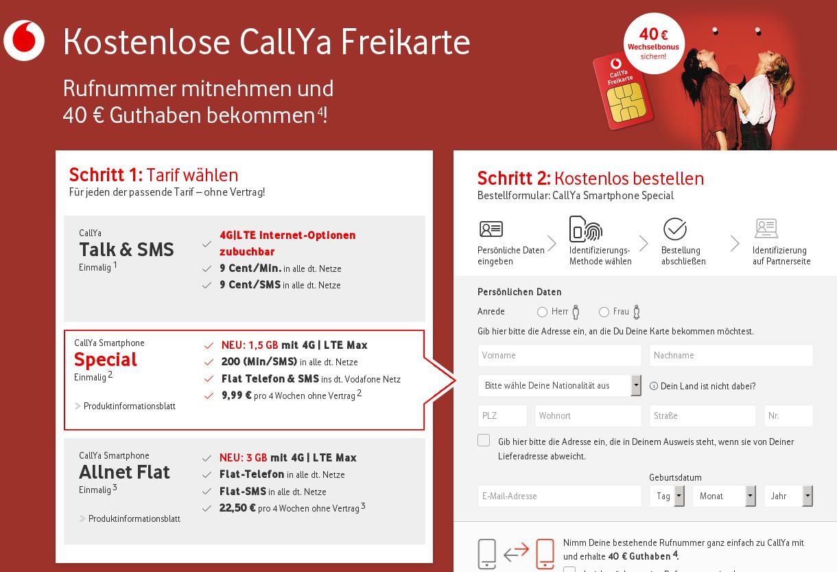 Callya Sim Karte.Vodafone Prepaid Tarife Callya Mit 40 Euro Startguthaben Bei 500