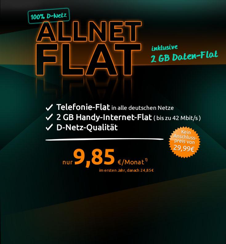 Crash Preistipp 2 Gb Allnet Flat Mit 42 Mbit Im Telekom D1 Netz Ab