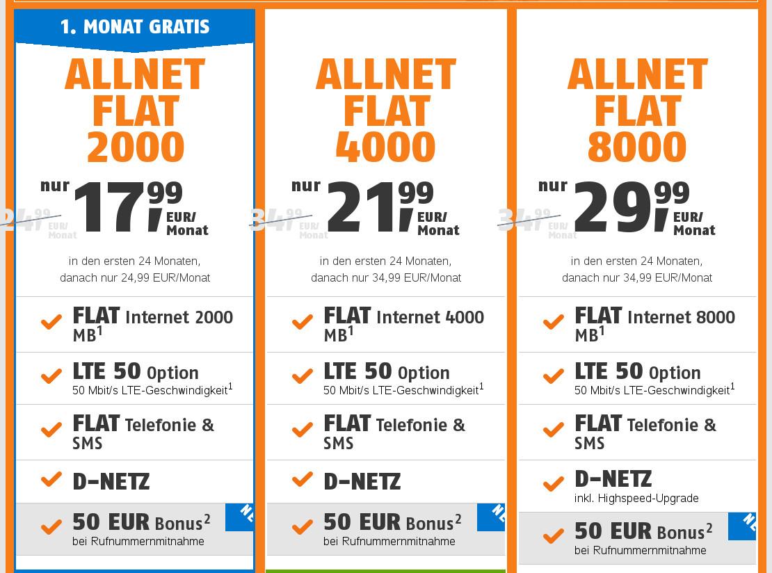 Spartipp Telekom Netz: Klarmobil Tarife mit LTE50 mit Freimonat, 50 ...