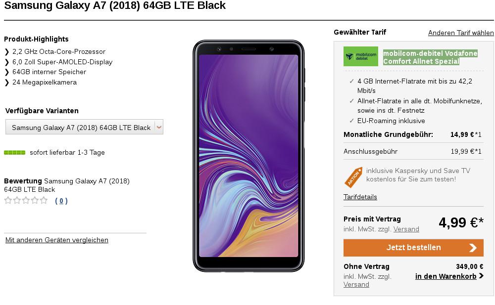 Blau Tarif mit Galaxy A7 + 120 € Gutschein mtl. 19,99 € + 1