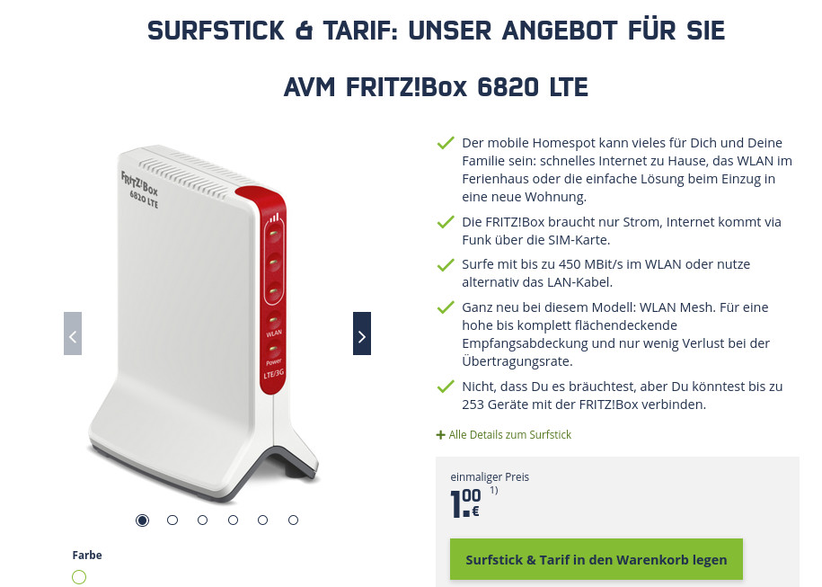 O2 Unlimited: WLAN LTE Router plus O2 Unlimited LTE All-In-Flat mit 225 Mbit Speed für 34,99 Euro