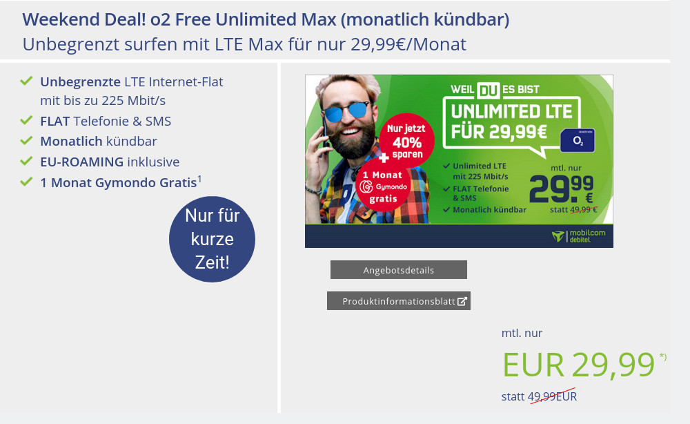 Unlimited Sparhammer Tarife: Unlimited o2 LTE All-In-Flat mit 225 Mbit Speed für 29,99 Euro bei mtl. Laufzeit