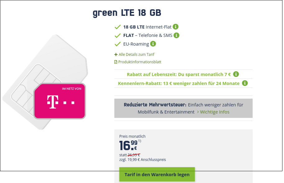 Black Week Telekom LTE Tarife: 18 GB LTE All-In-Flat für mtl. 16,99 Euro