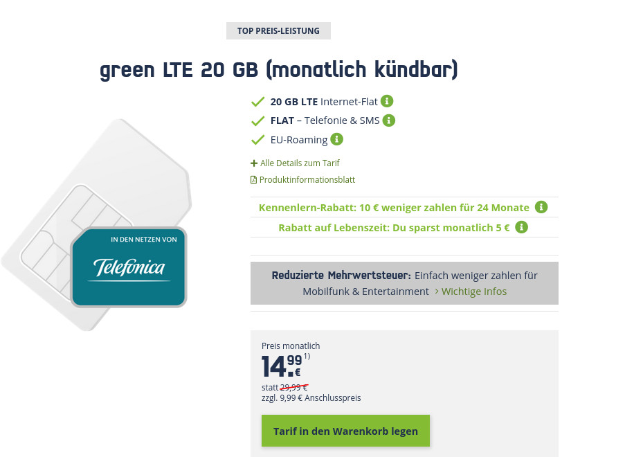 Preisknaller O2 LTE Tarife Power: mobilcoms 20 GB LTE All-In-Flat für mtl. 14,99 Euro