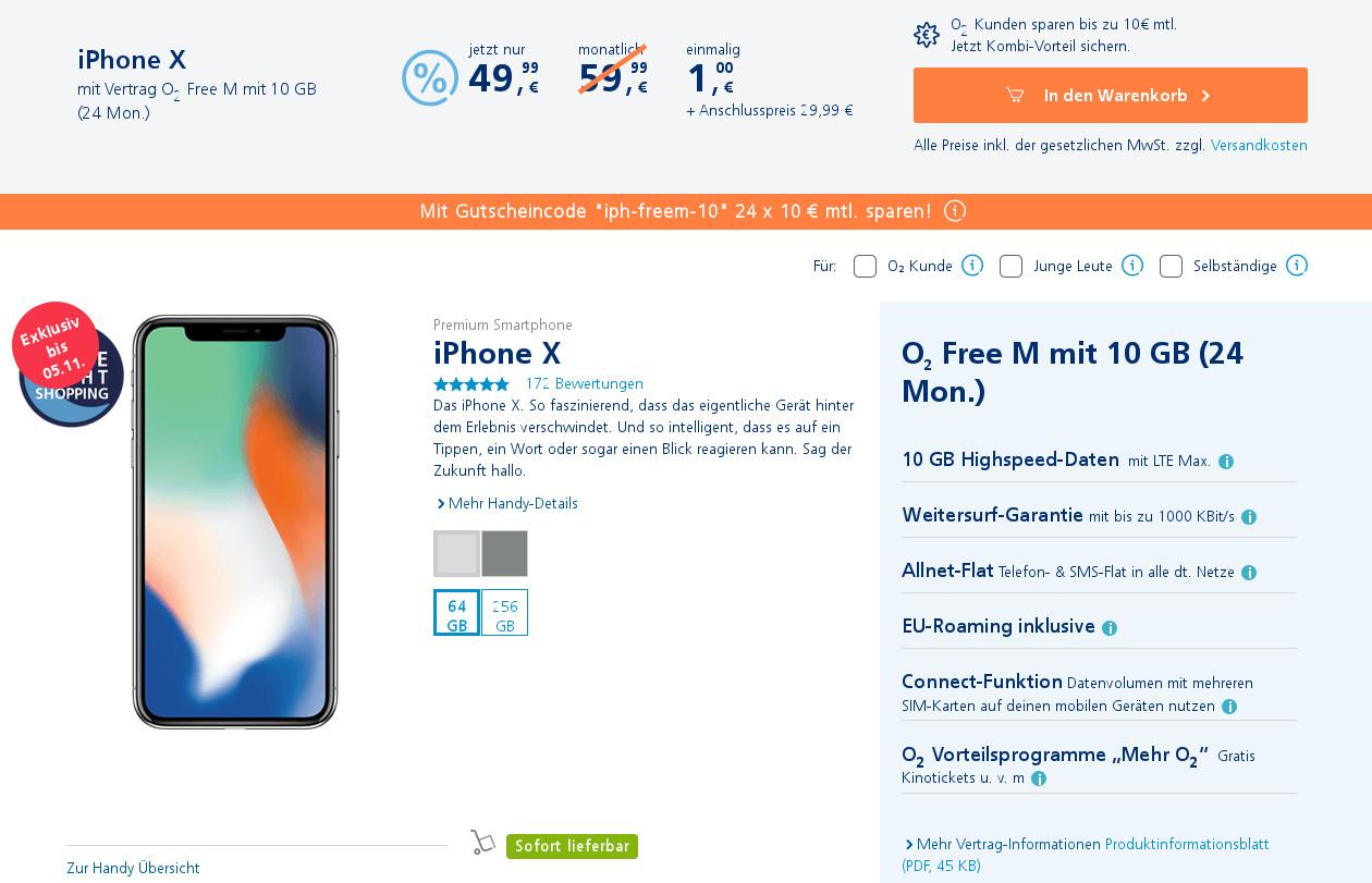 O2 Gutscheincode 240 Euro Sparen Iphone X Für 1 Euro Mit 10 Gb