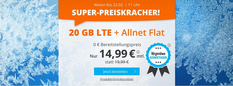 Tariftipp LTE Tarife: Sim.de 20 GB LTE All-In-Flat für 14,99 Euro ohne Laufzeit, 5 Euro sparen