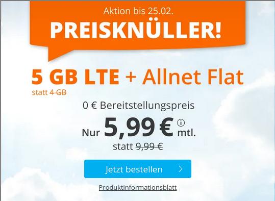 AKTION: Allnet-Flat & 5 GB LTE für nur 5,99 € mtl.