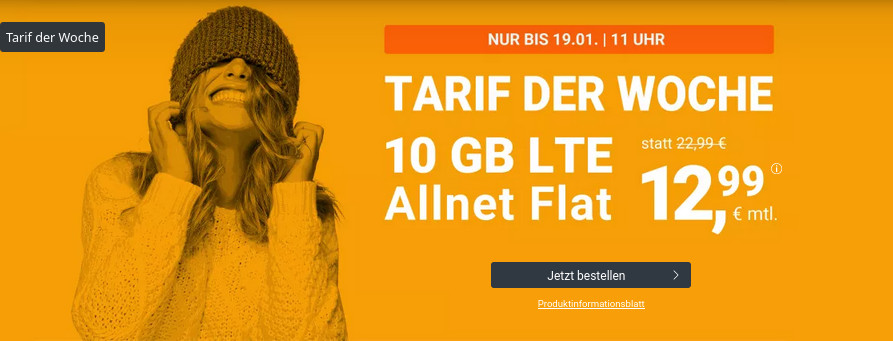 Tariftipp LTE Tarife: winSIMs 10 GB LTE All-In-Flat für mtl. 12,99 Euro